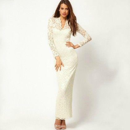 Lace Crochet Long Prom Gown - STUPA FASHION - 340405