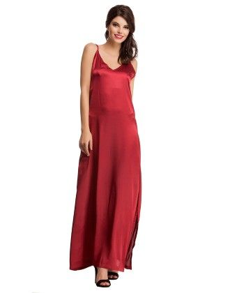 Satin Nightwear Set Of Long Nighty & Robe In Maroon - Clovia