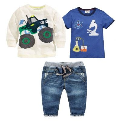 Boy's 3 Piece White And Blue Printed T-shirts And Denim Set - Dapper Dudes