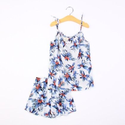 Cute Floral Print Sling Top And Shorts Set - Multi