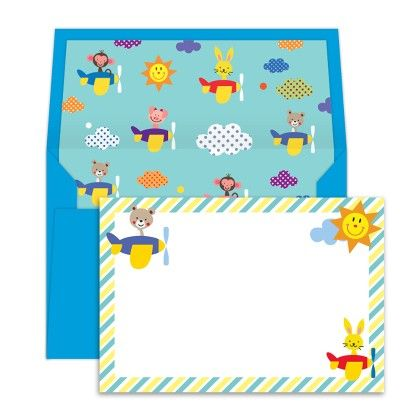 Notecards With Envelopes Animals On A Plane - Dots & Doodles