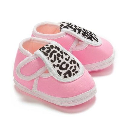 Leopard Print Baby Booties - Pink And White - Bubbles
