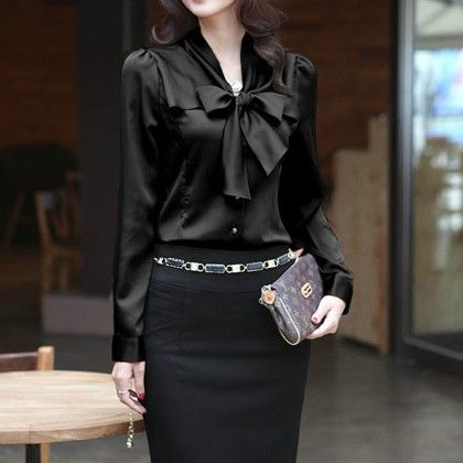 Bow Style Black Color Formal & Casual Shirt - STUPA FASHION