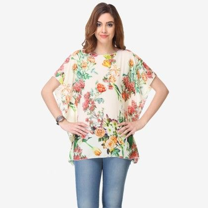 Multi Colored Chiffon Printed Top - Varanga - 325736