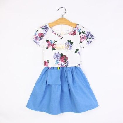 Blue Floral Print Top And Skirt Set - F Fly