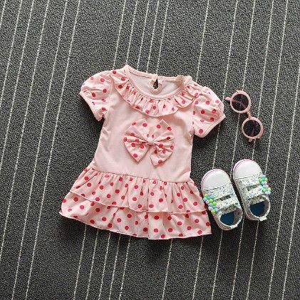 Pink Polka Dot Ruffle Dress - H