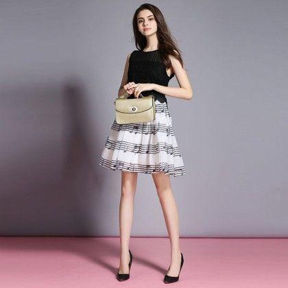 Black & White Printed Dress - Infinity Store
