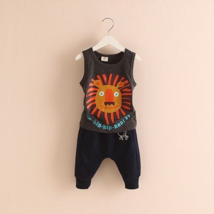 Lion Face Print Tshirt And Pants Black - Mauve Collection