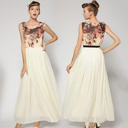 Women Flower Printed Patchwork Maxi Dress - STUPA FASHION - 340416