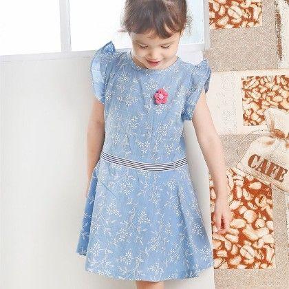 Cute Ruffle Sleeved Floral Work Dress - Blue - Sj Kids