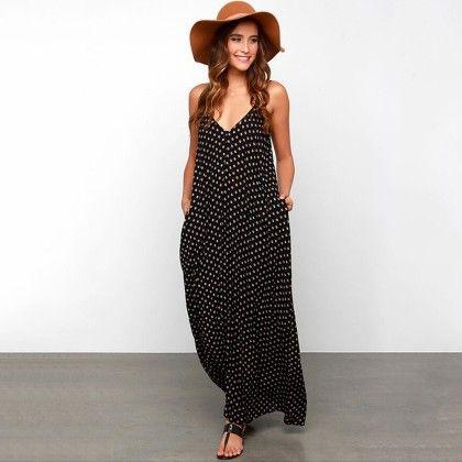 Summer Women Strapless Polka Dot Casual Loose Long Maxi Dress - Black - Style O Style