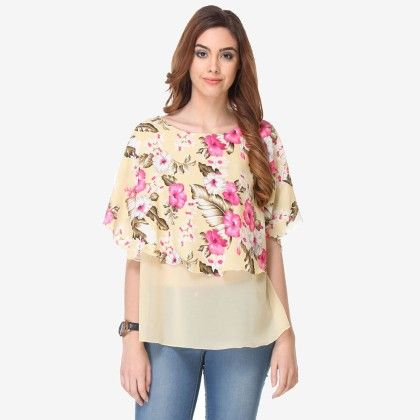 Multi Colored Crepe Printed Top - Varanga - 325732