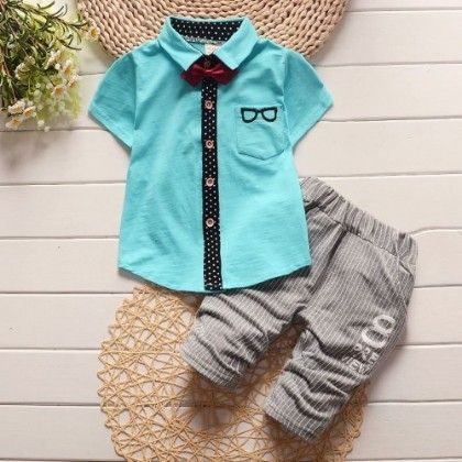 Specky Shirt With Bow And Striped Pant Set-blue - Bohuana