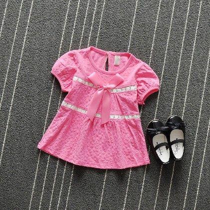 Dark Pink Satin Bow Applique Dress - Naton