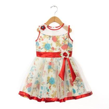 Red And White Flower Dress - EIORA