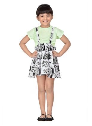 Black Camera Print Suspender Skirt With Top - Masaba For Magic Fairy