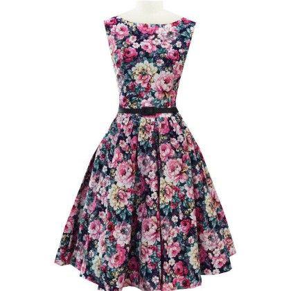 Vintage Dress Round Neck Sleeveless - Blue - STUPA FASHION