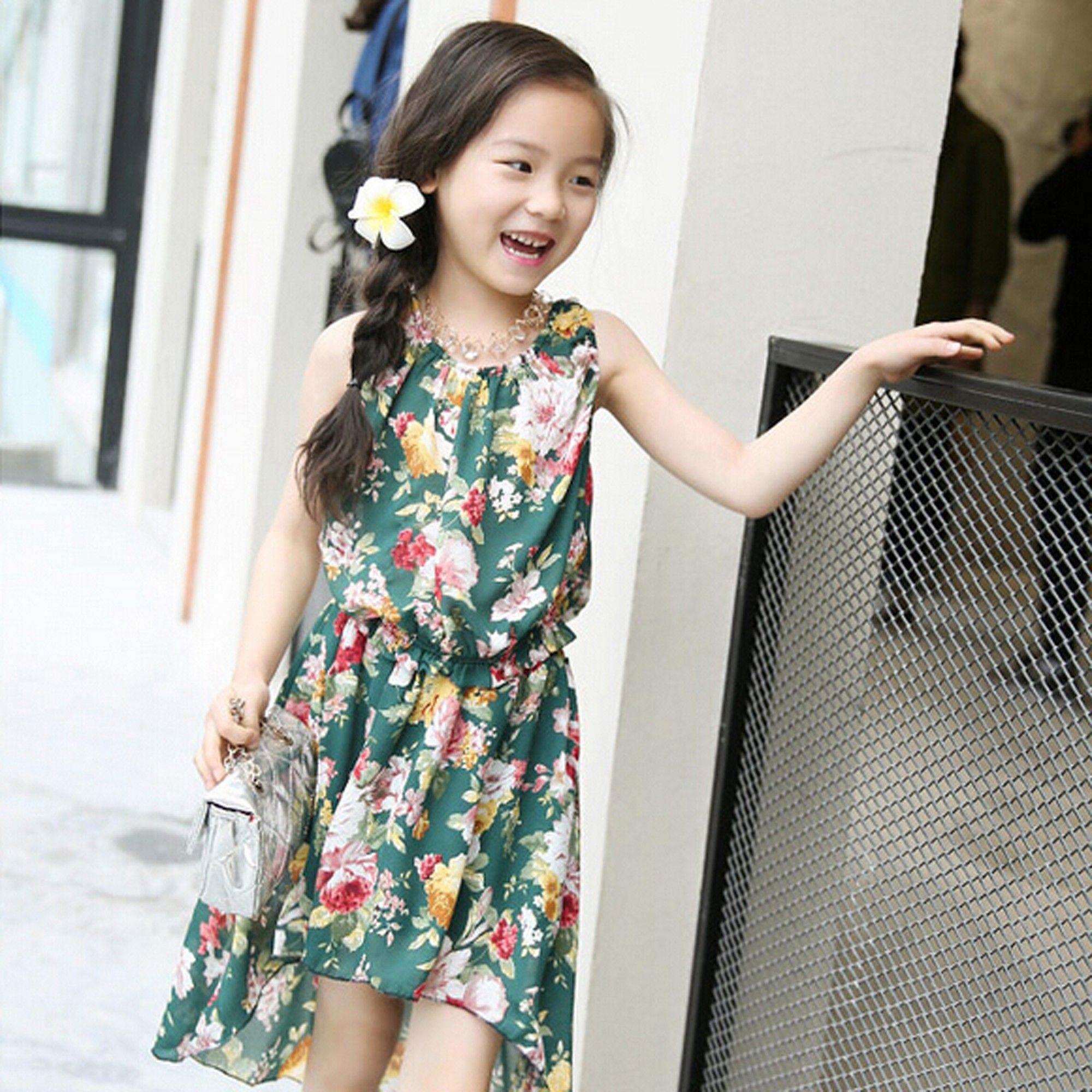 Green Floral Print Dress - Lil Mantra