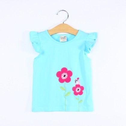 Cute Blue Floral Ruffle Top - BQB