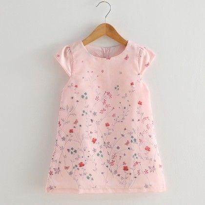 Pink Floral Printed Frock - Lil Mantra