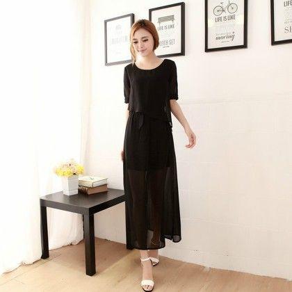 Chiffon Maxi Dress - Black - STUPA FASHION