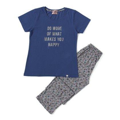 Blue Top With Full Printed Pyjama Set - Sheer Love