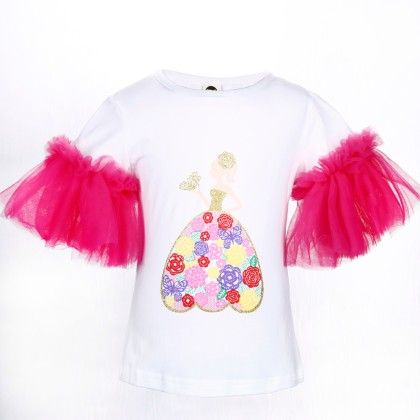 Cute White And Rose Red Girl Print Frilled Sleeves Top - Isabella By Princess