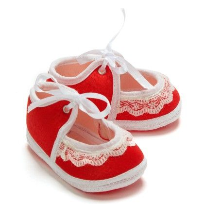 Frill And Lace Tie Up Baby Booties - Red - Bubbles