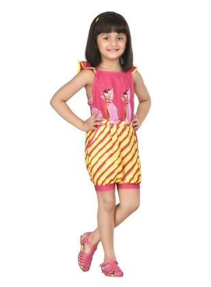 Jelllybean Candy Stripes Pink Frilly Sleeve Playsuit - Masaba For Magic Fairy