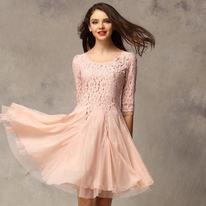 Lace Dresse - Pink - STUPA FASHION