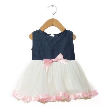 White Tulle Frock With Pink Lace & Denim Top - TINY TODDLER