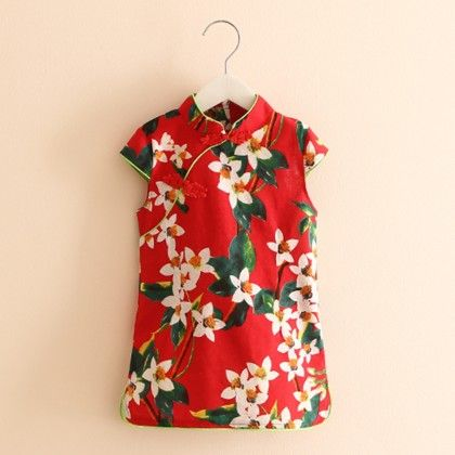 Summer Printed Red Short Tunic Dress - Mauve Collection