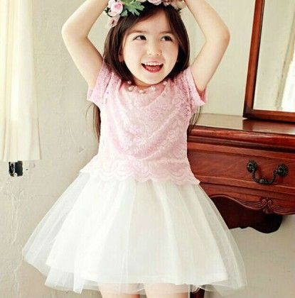 Cute Dress With Lacy Crop Top - Pink - Baby Kids