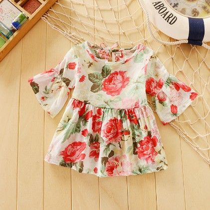 Cute Floral Print Long Sleeves Tunic Dress - Multi - XFZ