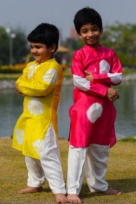 Yellow Tie Dye Kurta And Pyjama - Hickory Dickory