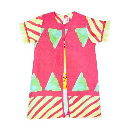 Pink Stripes A Line Dress With Frill Sleeves - Masaba For Magic Fairy