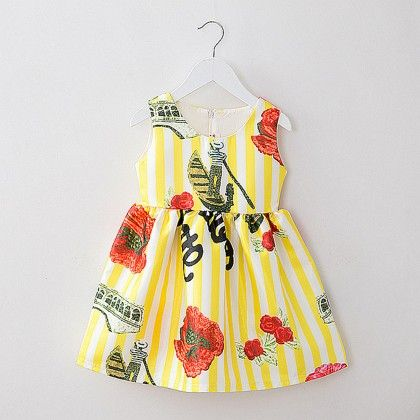 Classy Printed Pleated Yellow Dresses - Mauve Collection