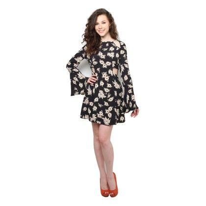 Xny Cut Out Mono Floral Flared Sleeve Dress