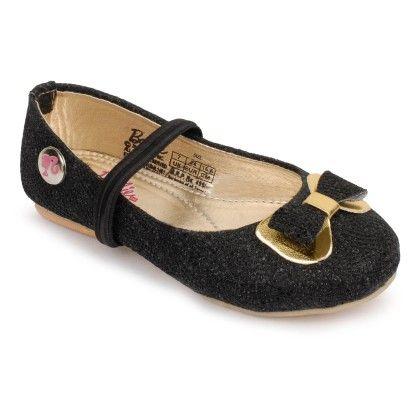 Black And Golden Barbie Ballerina Shoes Bow Design - Disney - Bioworld