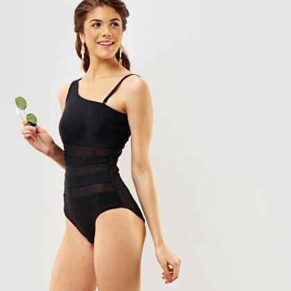 One Shoulder Mesh Insert Swimsuit - The Label Life
