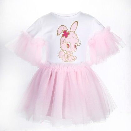 Cute White And Pink Bunny Print Frilled Dress - Isabella By Princess