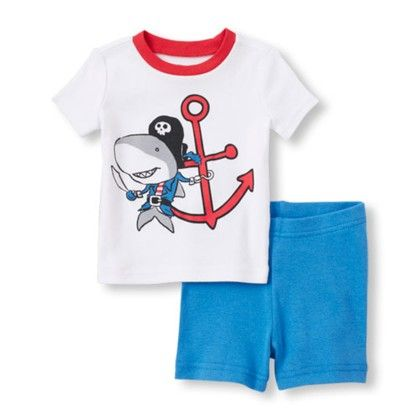 Short Sleeve Pirate Shark Top And Shorts Pj Set - The Children's Place