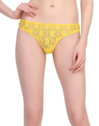 Clovia Sexy Lacy Thong In Yellow