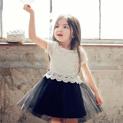 Cute Dress With Lacy Crop Top - Black - Baby Kids