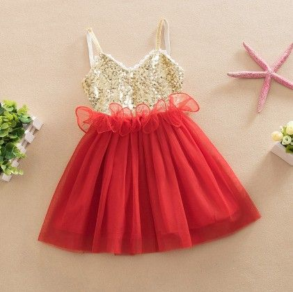 Designer Party Wear Dress -red - Love Baby