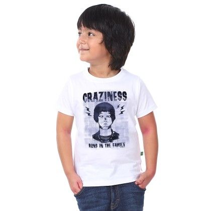 Boy's Craziness Print White T-shirt - BonOrganik