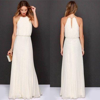 White Halter - Neck Bohemia Dress - Dell's World