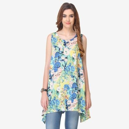 Multi Colored Chiffon Printed Tunic - Varanga - 325743