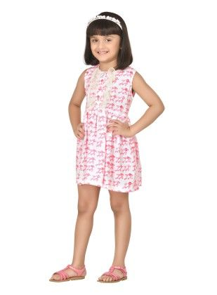 Twinkle Birdy Pink Short Dress With Dainty Frills - Masaba For Magic Fairy
