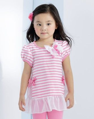 Girl's Pink And White Strips Top - Chouchou